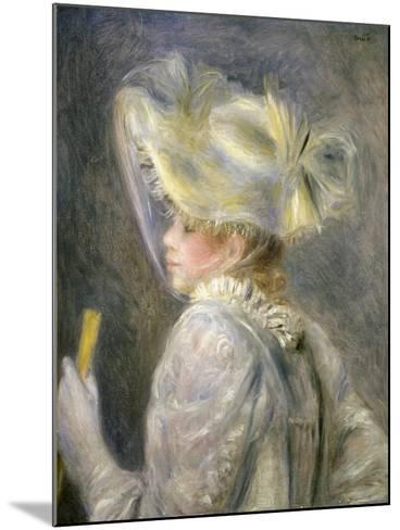 Young Woman with White Hat-Pierre-Auguste Renoir-Mounted Giclee Print
