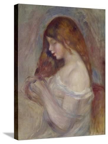 Girl Playing with Her Hair-Pierre-Auguste Renoir-Stretched Canvas Print