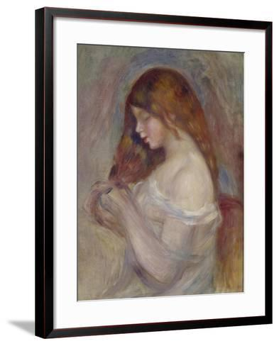 Girl Playing with Her Hair-Pierre-Auguste Renoir-Framed Art Print