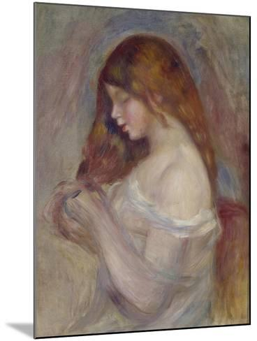 Girl Playing with Her Hair-Pierre-Auguste Renoir-Mounted Giclee Print