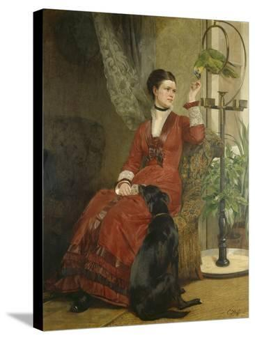 Lady with Parrot and Dog, C. 1880-Carl Constantin Steffeck-Stretched Canvas Print