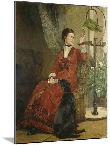 Lady with Parrot and Dog, C. 1880-Carl Constantin Steffeck-Mounted Giclee Print