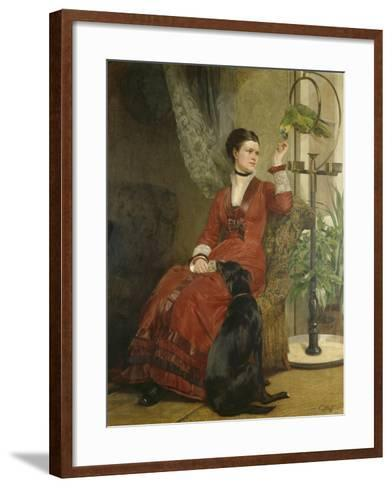 Lady with Parrot and Dog, C. 1880-Carl Constantin Steffeck-Framed Art Print