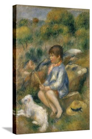 Young Boy with His Dog by a Brook, 1890-Pierre-Auguste Renoir-Stretched Canvas Print