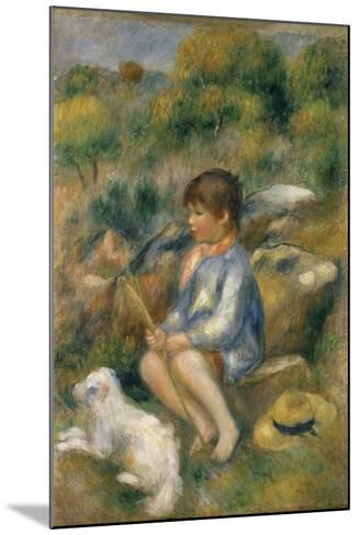Young Boy with His Dog by a Brook, 1890-Pierre-Auguste Renoir-Mounted Giclee Print