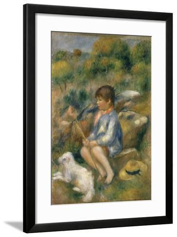 Young Boy with His Dog by a Brook, 1890-Pierre-Auguste Renoir-Framed Art Print