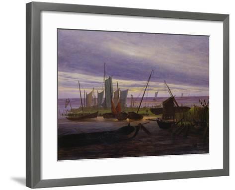 Boats in Harbour at Evening, 1828-Caspar David Friedrich-Framed Art Print