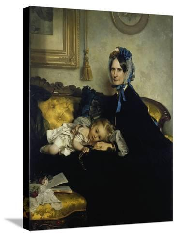 Grandmother and Grand-Daughter, 1863-Julius Scholtz-Stretched Canvas Print