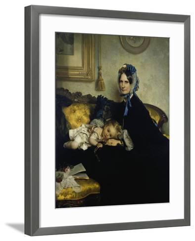 Grandmother and Grand-Daughter, 1863-Julius Scholtz-Framed Art Print
