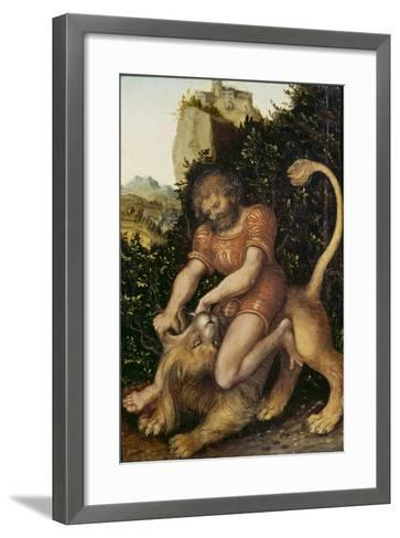 Samson Fighting a Lion-Lucas Cranach the Elder-Framed Art Print