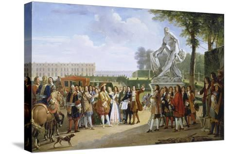 Ludwig XIV, at the Unveiling of the Sculpture Milon of Croton from P. Puget, 1814-Gabriel Lemonnier-Stretched Canvas Print