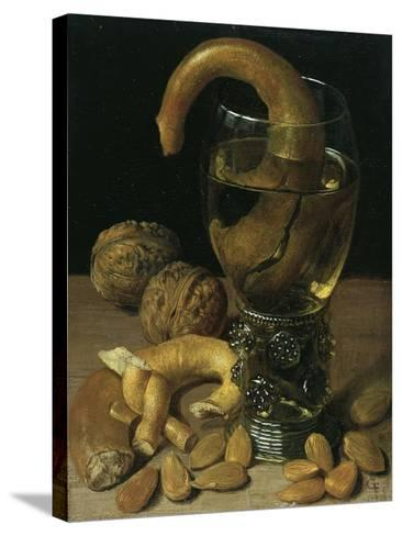 Still-Life with Wine Glass, Pretzel, Nuts and Almonds, 1637-Georg Flegel-Stretched Canvas Print