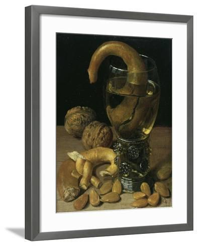 Still-Life with Wine Glass, Pretzel, Nuts and Almonds, 1637-Georg Flegel-Framed Art Print