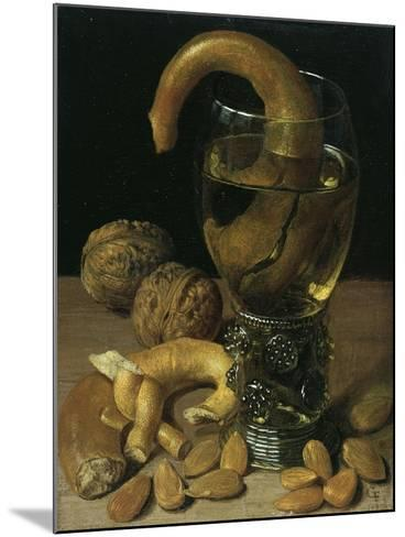 Still-Life with Wine Glass, Pretzel, Nuts and Almonds, 1637-Georg Flegel-Mounted Giclee Print