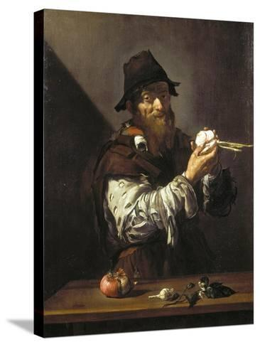 Portrait of an Old Man with an Onion-Jusepe de Ribera-Stretched Canvas Print