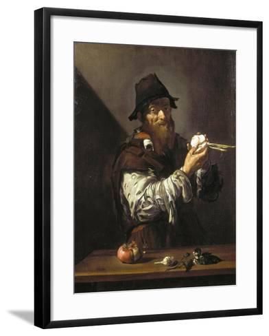 Portrait of an Old Man with an Onion-Jusepe de Ribera-Framed Art Print