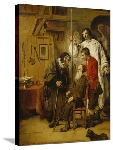 Tobias Curing His Fathers Blindness-Karel van der Pluym-Stretched Canvas Print