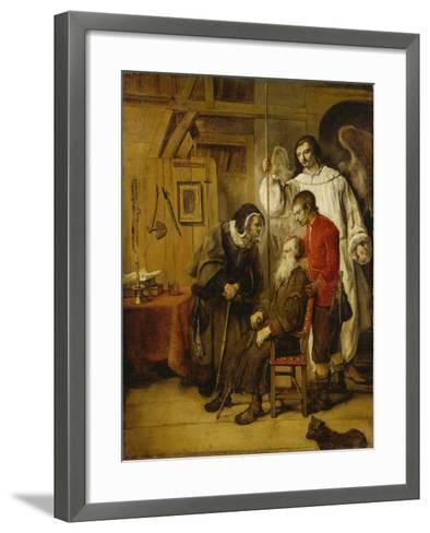 Tobias Curing His Fathers Blindness-Karel van der Pluym-Framed Art Print