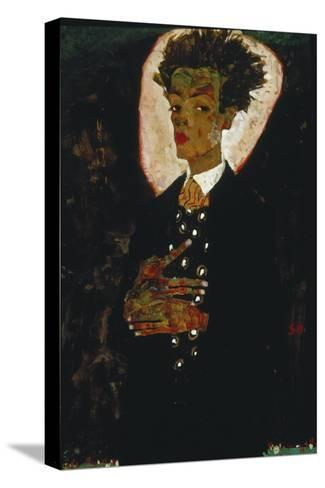 Self-Portrait with Peacock Vest Standing, 1911-Egon Schiele-Stretched Canvas Print