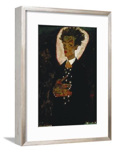 Self-Portrait with Peacock Vest Standing, 1911-Egon Schiele-Framed Art Print