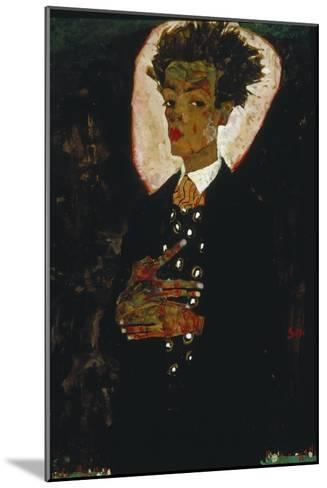Self-Portrait with Peacock Vest Standing, 1911-Egon Schiele-Mounted Giclee Print