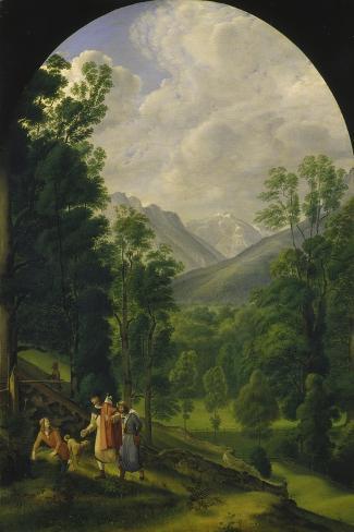 Landscape around Berchtesgaden, 1817-Ferdinand Olivier-Stretched Canvas Print