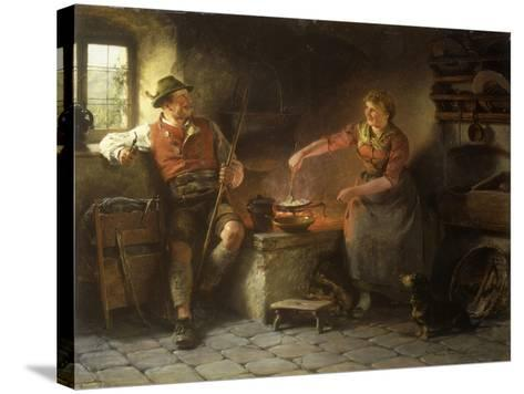 In the Kitchen, 1901-Hugo Kauffmann-Stretched Canvas Print