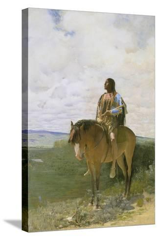 Sioux-Indian on Horseback, 1882-George de Forest-Brush-Stretched Canvas Print