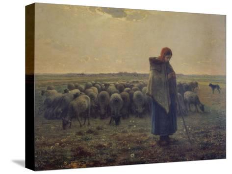 Shepherdess with Her Flock (La Grande Bergere), 1863-Jean-Fran?ois Millet-Stretched Canvas Print