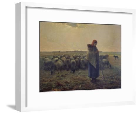 Shepherdess with Her Flock (La Grande Bergere), 1863-Jean-Fran?ois Millet-Framed Art Print