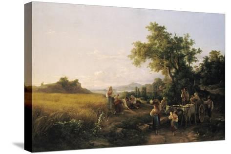 Italienische Landschaft Mit Ochsenwagen Waehrend Der Kornernte-Károly Markó-Stretched Canvas Print