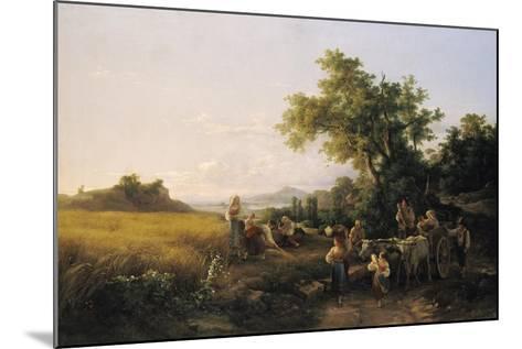 Italienische Landschaft Mit Ochsenwagen Waehrend Der Kornernte-Károly Markó-Mounted Giclee Print