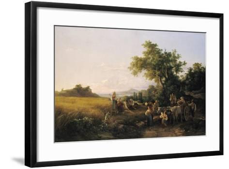 Italienische Landschaft Mit Ochsenwagen Waehrend Der Kornernte-Károly Markó-Framed Art Print