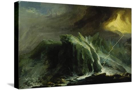 Tempest with Lightning Striking at Grindelwald Glacier-Caspar Wolf-Stretched Canvas Print