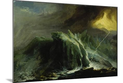 Tempest with Lightning Striking at Grindelwald Glacier-Caspar Wolf-Mounted Giclee Print