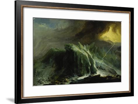 Tempest with Lightning Striking at Grindelwald Glacier-Caspar Wolf-Framed Art Print