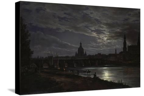 View of Dresden During Fullmoon, 1839-Johan Christian Clausen Dahl-Stretched Canvas Print
