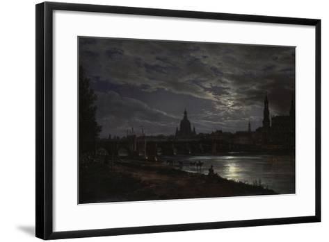 View of Dresden During Fullmoon, 1839-Johan Christian Clausen Dahl-Framed Art Print
