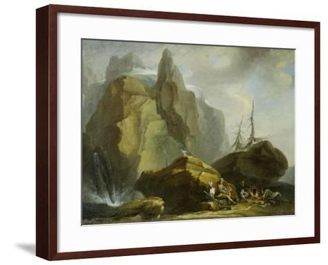 Landscape in the High Alps with Resting Mountaineers and the Painter-Caspar Wolf-Framed Art Print