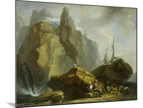 Landscape in the High Alps with Resting Mountaineers and the Painter-Caspar Wolf-Mounted Giclee Print