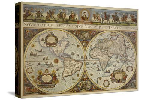 Map in Two Hemispheres with Portrait of Pope Innocent XI, 1676-Erdkarte-Stretched Canvas Print