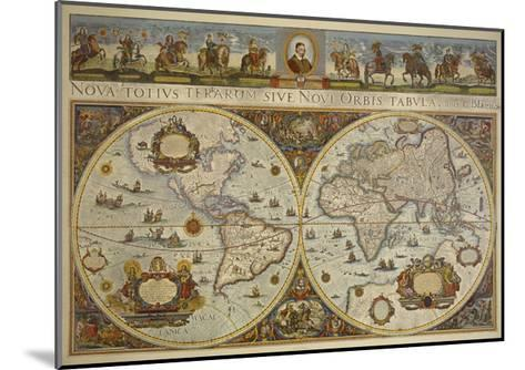 Map in Two Hemispheres with Portrait of Pope Innocent XI, 1676-Erdkarte-Mounted Giclee Print