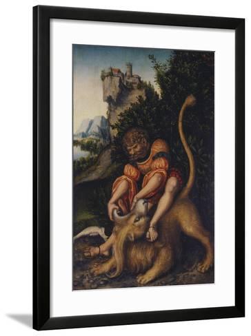 Simson, Fighting with the Lion, C. 1520-1525-Lucas Cranach the Elder-Framed Art Print