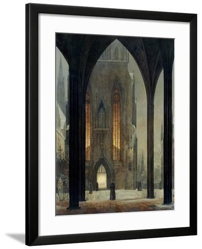 Cathedral in Winter, 1821-Ernst Ferdinand Oehme-Framed Art Print