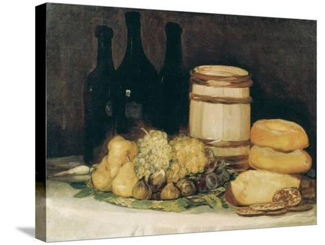 Still-Life with Fruits, Bottles and Loaves of Bread-Suzanne Valadon-Stretched Canvas Print