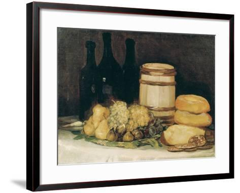 Still-Life with Fruits, Bottles and Loaves of Bread-Suzanne Valadon-Framed Art Print