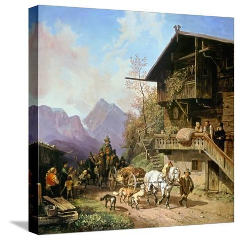 Return from the Bearhunting, 1839-Heinrich Bürkel-Stretched Canvas Print