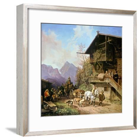 Return from the Bearhunting, 1839-Heinrich Bürkel-Framed Art Print