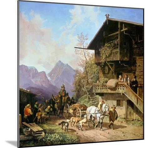 Return from the Bearhunting, 1839-Heinrich Bürkel-Mounted Giclee Print