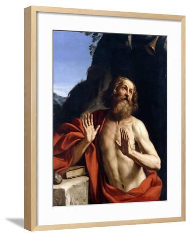 Saint Jerome in the Wilderness-Giovanni Francesco Barbieri-Framed Art Print